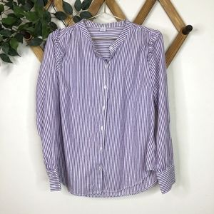 Old Navy Striped Ruffle Shoulder Button Up Too